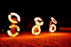 Fire Show. Amazing Fire Show at night, Kod Island, Thailand Stock Photo