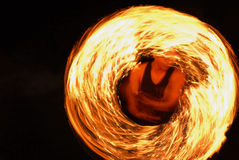 Fire show amazing at night at the party Royalty Free Stock Photo