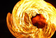 Fire show amazing at night at the party Royalty Free Stock Images