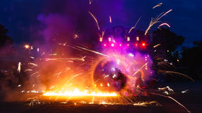 Fire show. Colored fire show with lights and smoke Royalty Free Stock Images