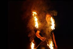 Fire show. Dance with Staff royalty free stock photos