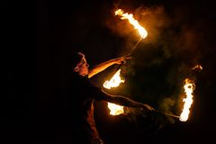 Fire show. Dance with Staff royalty free stock photo