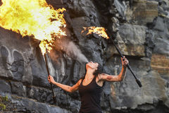 Fire show Fire Breather Large Plume Of Flame Royalty Free Stock Photos