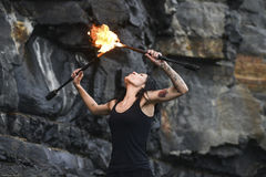 Fire show Fire Breather Large Plume Of Flame Stock Photography