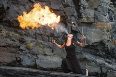 Fire show Fire Breather Large Plume Of Flame Royalty Free Stock Photography