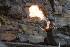Fire show Fire Breather Large Plume Of Flame Stock Photo
