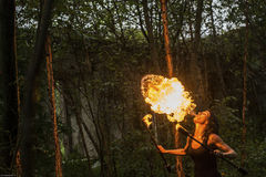 Fire show Fire Breather Large Plume Of Flame Royalty Free Stock Image