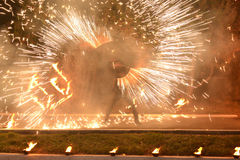 Fire show Fireworks. Beautiful fireworks fire show for the holiday Royalty Free Stock Images