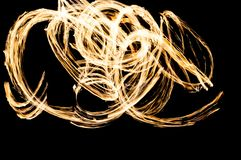Fire show. Flames and lights Royalty Free Stock Photos