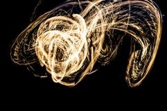 Fire show. Flames and lights Stock Image