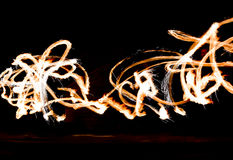 Fire Show Flaming Trails Stock Image