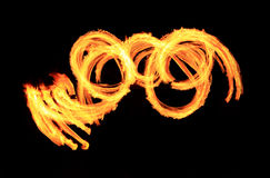Fire show flaming trails, background Royalty Free Stock Image