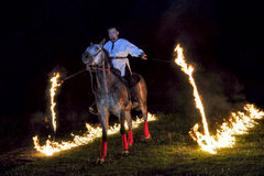 Fire show with horses Royalty Free Stock Photo