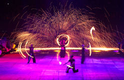 Fire Show. ISTANBUL, TURKEY - FEBRUARY 01, 2015:  People performs fire show during Monster Hot Wheels in Sinan Erdem Dome Royalty Free Stock Image