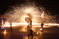 Fire Show. ISTANBUL, TURKEY - JANUARY 31, 2015: People performs fire show during Monster Hot Wheels in Sinan Erdem Dome Royalty Free Stock Images