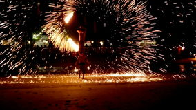 Fire show in Koh Chang. Video footage of a fire show performance at night on White Sand Beach, located in Koh Chang, Thailand stock footage