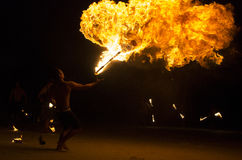 Fire show at Koh Samet, Thailand. Royalty Free Stock Photography