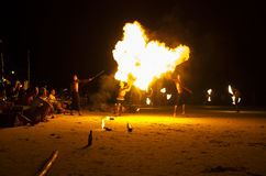 Fire show at Koh Samet, Thailand. Royalty Free Stock Images