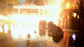 Fire show on Las Vegas Strip, Nevada, USA, stock video