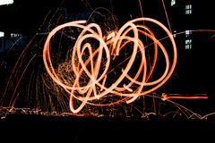 Fire Show. Long exposer of light show Royalty Free Stock Photography