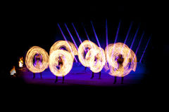 Fireshow. Fire show a lot of sparks in the night Royalty Free Stock Image