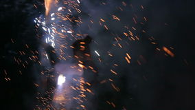 Fire show a lot of sparks in the night stock footage