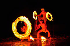 Fire-show man in action with fire royalty free stock images