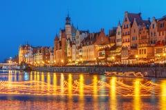 Fire show on Motlawa River, Gdansk, Poland Stock Photography