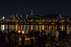 Fire show near the river, backgrond with Seoul city Royalty Free Stock Photo