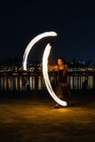 Fire show near the river, backgrond with Seoul city Stock Photo