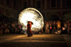 Fire show. Night fire show - a show abstract Royalty Free Stock Photography