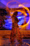 Fire show. Night fire show - a show abstract Stock Image