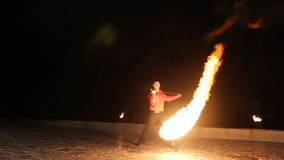Fire show in the night. stock video