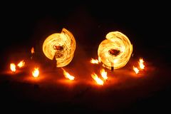 Fire show at night stock images