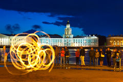 Fire show in night Neva embankment Royalty Free Stock Images