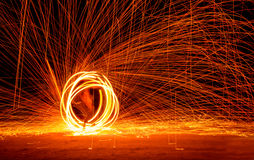 Fire Show at night on Phi-Phi island Holiday travelers Stock Photography