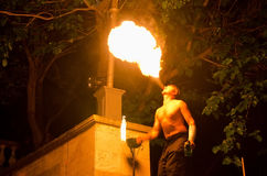 Fire show during a performance of king Mithridates Stock Photo