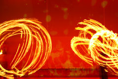 A fire show performed on stage Stock Photo