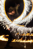 Fire Show performed by unknown person. Royalty Free Stock Images