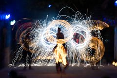 Fire show. On phi-phi spark circle, Thailand Royalty Free Stock Images