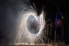Fire show. On phi-phi spark cirlcle, Thailand Royalty Free Stock Photography
