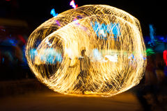 Fire show shadowgraph. Fire show on phi-phi spark circle, Thailand Stock Photos
