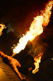 Fire show. Fire splittle on the ground Royalty Free Stock Images