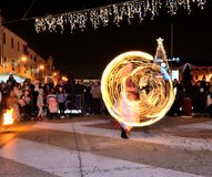 Fire show on street royalty free stock photo