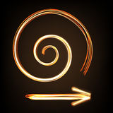 Fire-show style arrow sign and spiral Stock Image