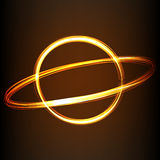 Fire-show style sign of planet. Silhouette of line image of planet in fire-show style Royalty Free Stock Images