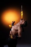 Fire show with torches Royalty Free Stock Images