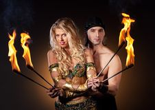 Fire show with torches Royalty Free Stock Photography