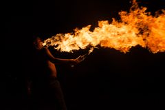 Fire show with torches Royalty Free Stock Image