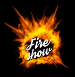 Fire show vector illustration with fire. On black background Stock Photos